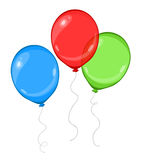 Three colorful cartoon flying balloons -  illustration.  Stock Photo