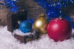 Three colorful christmas balls Stock Photography