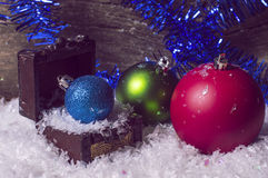 Three colorful christmas balls Royalty Free Stock Images