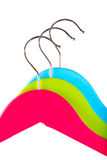 Three colorful clothes hangers Royalty Free Stock Image