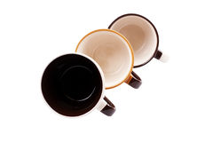 Three colorful coffee cups Royalty Free Stock Photography