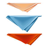 Three colorful cotton kitchen towels folded and stacked. Vector Napkin folded triangle on a white background Stock Illustration