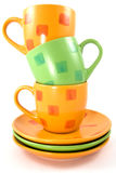 Three colorful cups Royalty Free Stock Photography
