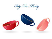 Three colorful cups. Big tea party. Vector illustration. Stock Images