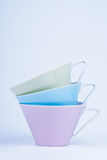 Three colorful cups Royalty Free Stock Image