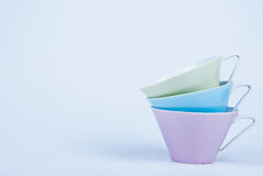 Three colorful cups Royalty Free Stock Photo