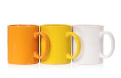 Three colorful cups Royalty Free Stock Images