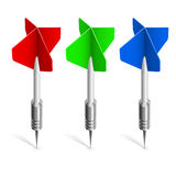 Three colorful darts Stock Photos