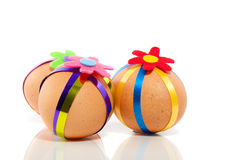 Three colorful decorated easter eggs Royalty Free Stock Photo