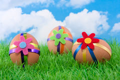 Three colorful decorated easter eggs Royalty Free Stock Photography