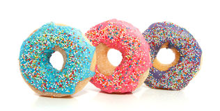 Three colorful donuts Royalty Free Stock Image