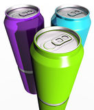 Three colorful drink cans. A 3d render of three bright colorful drink cans on a white surface Stock Images
