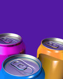 Three colorful drink cans Royalty Free Stock Images