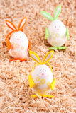 Three colorful easter bunny Stock Photography