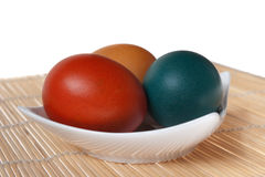 Three Colorful Easter Eggs Stock Image