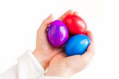 Three colorful easter eggs Stock Images