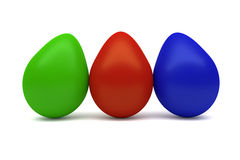 Three colorful eggs Royalty Free Stock Photos