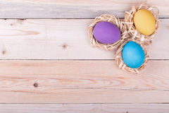 Three colorful eggs in small nests on wooden background Stock Image