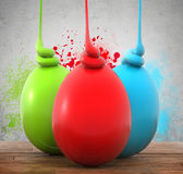 Three colorful eggs on a wooden planks royalty free illustration
