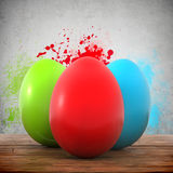 Three colorful eggs on a wooden planks vector illustration