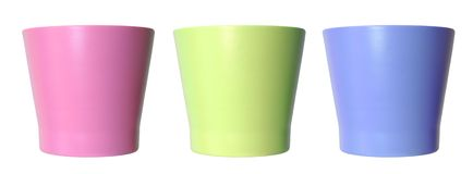 Three colorful empty vase Royalty Free Stock Photography