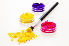 Three colorful eyeshadows Royalty Free Stock Photography