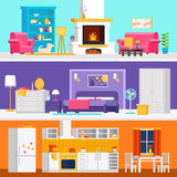 Three colorful flat rooms vector illustrations to infographic and banner design. Living room, bedroom, kitchen with interior design and furniture vector flat Royalty Free Stock Photo
