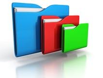 Three colorful folders on white background Stock Photos