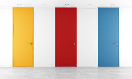 Three colorful full height door Royalty Free Stock Images