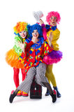 Three colorful funny clown on a white background Royalty Free Stock Photos