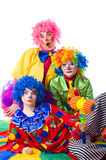 Three colorful funny clown on a white background Stock Image