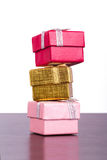 Three Colorful Gift Boxes Royalty Free Stock Photography