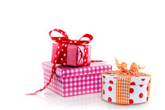 Three colorful giftboxes Royalty Free Stock Photography