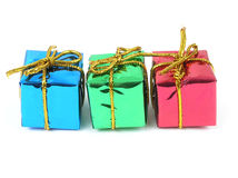 Three colorful gifts Stock Photography