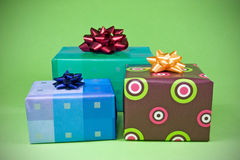 Three colorful gifts Stock Photo