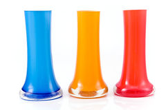 Three colorful glass vases Royalty Free Stock Photos