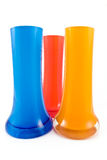 Three colorful glass vases Stock Photos