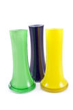 Three colorful glass vases Stock Images