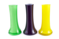 Three colorful glass vases Stock Image