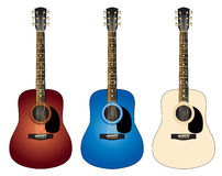 Three colorful guitars royalty free stock photos