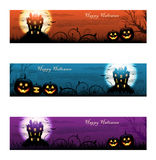 Three colorful Halloween haunted house background Stock Photo