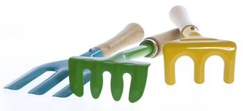 Three Colorful Hand Garden Tools Stock Photos