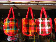 Three colorful handbags Royalty Free Stock Images