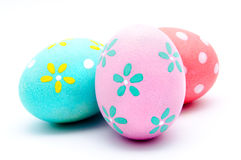 Three colorful handmade easter eggs  Stock Photos