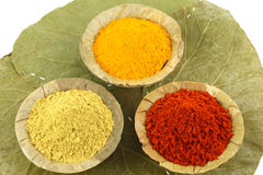 Three colorful indian spices Royalty Free Stock Photos