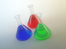 Three colorful lab flasks Stock Image