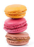 Three colorful macarons isolated on white Royalty Free Stock Photo