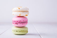 Three colorful macaroons Royalty Free Stock Photography