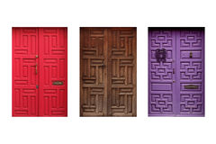 Three colorful mexican doors isolated on white background Stock Photo