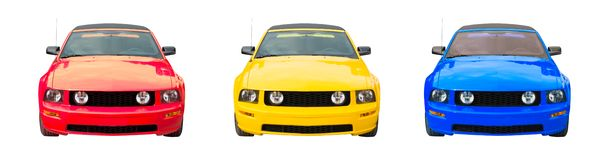 Three Colorful Mustangs. Three colorized sports cars isolated against a white background: red, yellow and blue royalty free stock photography